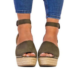 Women Peep Toe High Wedge Platform Ankle Strap Sexy Espadrilles Clubwear Sandals