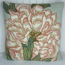 """Peking Handicraft Pink and Green Floral Hand Hook  Pillow  17"""" X 17"""" Beautiful"""