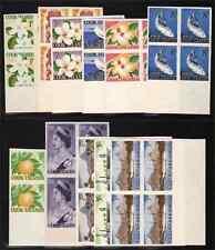 Cook Islands 1963 Definitive set in imperf MATCHED BOTTOM MARGIN BLOCKS OF FOUR