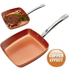 24cm Copper Grill Frying Pan BBQ Non Stick Aluminium Induction Kitchen Ceramic