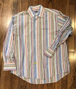 Martin Gordon Multi Color Striped Long Sleeve Button Down Shirt, Size Large
