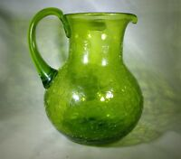 Vintage  MID CENTURY MODERN  GREEN BLENKO CRACKLE GLASS PITCHER JUG EMERALD ?