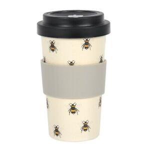 Bumble Bee Print Reusable Bamboo Coffee Cup, Eco Friendly Travel Mug