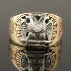 2Tone Solid 10K Gold & Palladium Diamond Masonic Double Eagle 32nd Degree Ring for sale