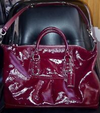 COACH ASHLEY PATENT LEATHER LARGE SATCHEL SHOULDER BAG PURSE F15454 CRIMSON RED