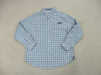 COLUMBIA PFG Button Up Shirt Adult Extra Large Blue Super Tamiami Fishing Mens