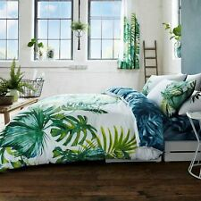 BOTANICAL PALM LEAVES DOUBLE DUVET COVER SET REVERSIBLE NATURE GREEN/WHITE