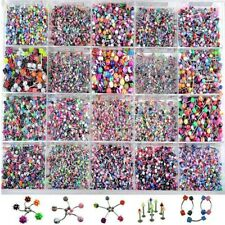 100pc Acrylic Tongue Lip Navel Eyebrow Rings Bars Barbell Body Piercing Jewelry