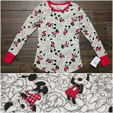 New DISNEY Minnie Mickey Mouse Thermal Long Sleeve Sleepwear Top Shirt XS
