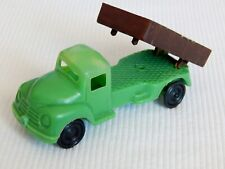 "TOY DUMP TRUCK 4"" Green Hollow Plastic Blow Mold, Vintage 1950s Hong Kong"