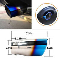 Car 76mm Exhaust Silencer Tail Pipe Muffler Rear Large Caliber Half Blue Throat
