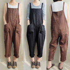 3ff13a6557b2 Women Strappy Bib Cargo Pant Coveralls Overalls Dungaree Jumpsuit Plus Size  8-22