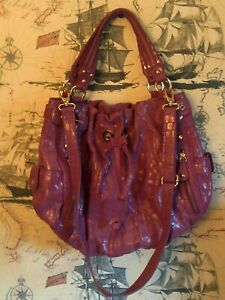 HYPE Fuchsia Croc Embossed Leather Hobo Shoulder Bag