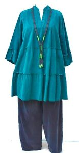 """PLUS SIZE OVERSIZED TURQUOISE COTTON CORD A-LINE LONG TUNIC BUST UP TO 50"""" L-XL"""