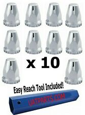 33mm CHROME NUT COVERS (10 PK) 33mm Screw on Chrome Plastic - with REMOVAL TOOL