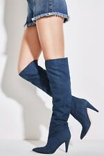 $129 Guess Women's Nidia Slouchi Blue Denim Boots Pointed Too Mid Heel Size 6