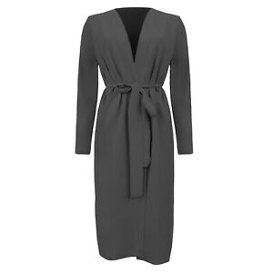 UK Womens Ladies Maxi Long Sleeve Ruched Waist Belted Duster Jacket Coat S/M-XXL
