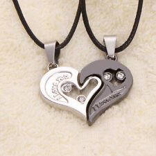 Pair Silver Couple Heart Love Girlfriend Boyfriend Pendant Necklace Chain Gift