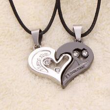 Hommes Femmes Amour Collier Couple I Love You Pendentif cadeau Coeur