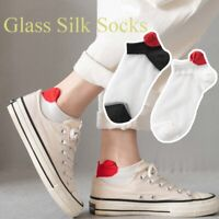 Crystal Silk Socks Spring Glass Silk Breathable Socks Ladies Heel Love  Socks