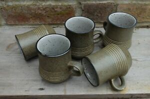 VINTAGE SET OF FIVE PURBECK STONEWARE SPECKED MID CENTURY MUGS