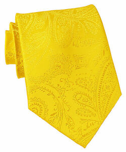 New Men's Polyester Woven Neck Tie necktie only yellow paisley prom wedding
