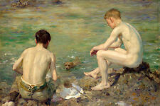 Oil painting Henry Scott Tuke gay Nude young boys swimming dog three companions