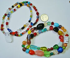 2 Strands lampwork, fused, art glass  multicolored beads various shapes gbs024