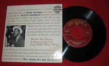 """CHARLIE CHRISTIAN W/ BENNY GOODMAN & HIS SEXTET"" 1955 COLUMBIA EP"