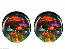 PAIR-Mushroom World Acrylic Screw On Stash Plugs 08mm/0 Gauge Body Jewelry
