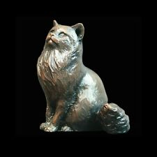 Long Haired Cat Sitting Bronze Foundry Cast Sculpture by Michael Simpson [925]