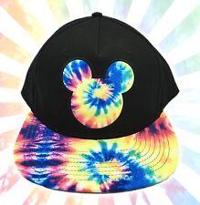 Disney Mickey Mouse Tie Dye Icon Genuine Black Baseball Hat Cap Snapback Neff