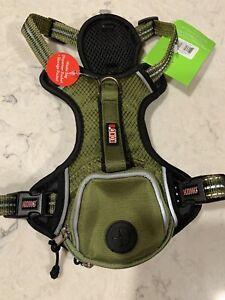 KONG COMFORT+ REFLECTIVE WASTEBAG DOG HARNESS ARMY GREEN SIZE SMALL