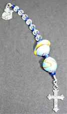 """Handmade """"Lukan"""" Anglican Prayer Beads, clear and blue glass, silver tone cross"""
