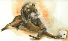 Original Art Work Watercolor Painting Dog A's & 8's Signed Diane Laware Frame