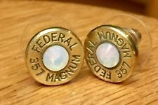 Federal 357 Magnum Brass Bullet Casing Stud Earrings With Opal Crystals