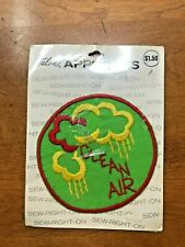 1970's CLEAN AIR Sew - Right - On Patch - From Talon Appliques Never Used
