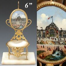 Antique 1878 Paris Expo Souvenir Pocket Watch Stand, a Miniature Chair, Palais