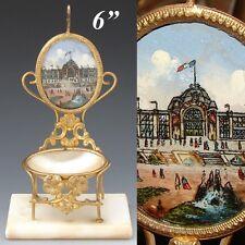 Antique 1878 Paris Expo Souvenir Pocket Watch Stand, a Miniature Chair, Palais