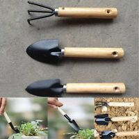 1 Set Spade Plant Tool Wooden 3pcs Handle Garden Tools Shovel Trowel Rake