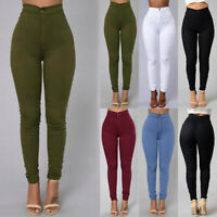 Pencil Jeans Womens Fashion Stretch Skinny Pants High Waist Solid Long Trousers
