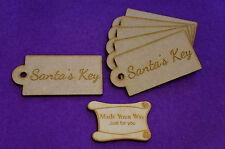 Mdf etiqueta del equipaje redondeados Santa's clave 4x8cm/40x80mm X 3 Mm - 6 X De Corte Láser De Madera