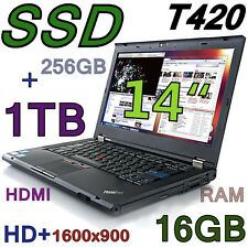 "Fast Lenovo Thinkpad T420 w/Two HDD! (256GB SSD + 1TB) 16GB 14"" HD+1600x900 HDMI"
