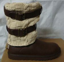 UGG Chocolate Brown Cassidee Tall Cable Knit Boots Size US 7,EU 38 NEW #1007691