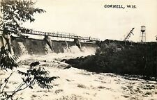 Cornell WI~Watertower, Crane~Bridge & Water Flowing~1940s Real Photo Postcard