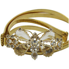Toned Stretch Butterfly Belt Vintage Schreiner Clear Rhinestone Gold