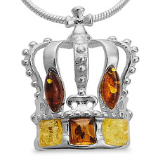 Bernstein Anhänger Königskrone Krone 925 Silber Kaiserkrone Amulett Medaillon