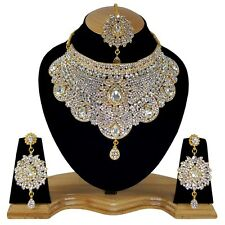 Beautiful Antique Gold Plated Crystals Floral Touch White color Necklace Set