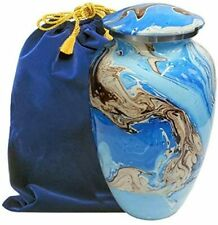 Ocean Tides Beautiful Adult Cremation Urn for Human Ashes - with Velvet Bag