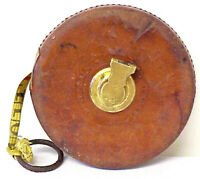 VINTAGE ANTIQUE CLASSIC BROWN LEATHERED UNIVERSAL CORDED TAPE MEASURE 75 FEET